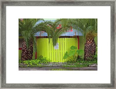 Usa, Florida, Apalachicola, Green Fence Framed Print