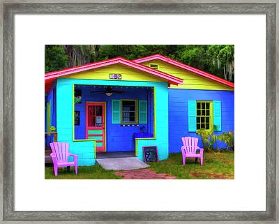 Usa, Georgia, Darien, Colorful Building Framed Print by Joanne Wells