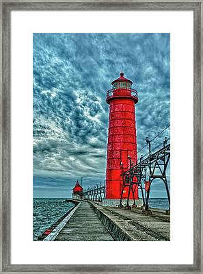 Usa, Grand Haven, Michigan, Lighthouse Framed Print by Rona Schwarz