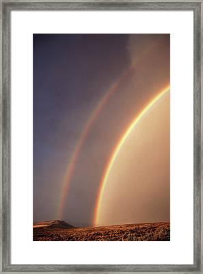 Usa, Idaho, Double Rainbow Framed Print