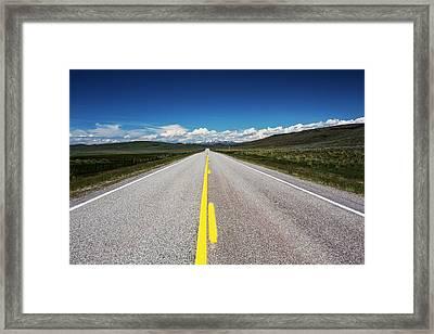 Usa, Idaho, Highway Leading Framed Print