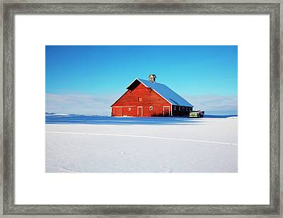 Usa, Idaho, Old Red Barn And Truck Framed Print by Terry Eggers
