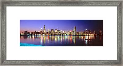 Usa, Illinois, Chicago, Night Framed Print