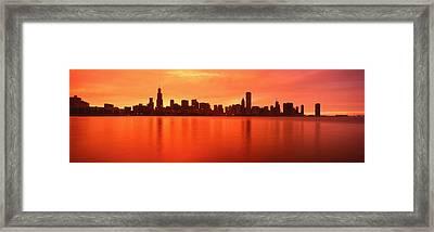 Usa, Illinois, Chicago, Sunset Framed Print
