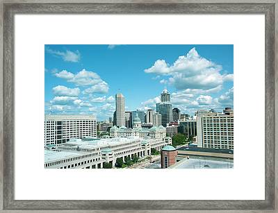 Usa, Indiana, Indianapolis Skyline Framed Print by Lee Foster