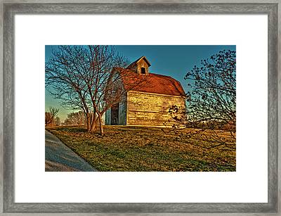 Usa, Indiana, Rural Scene Of Red-roofed Framed Print