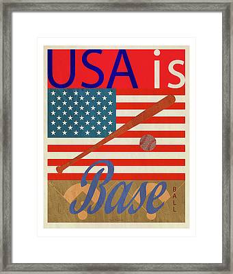 Usa Is Baseball Framed Print by Joost Hogervorst