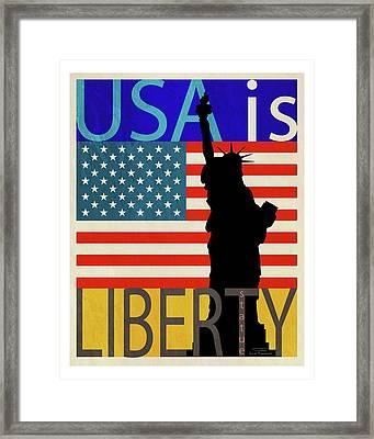 Usa Is Liberty Framed Print by Joost Hogervorst