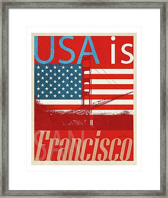 Usa Is San Francisco Red Framed Print