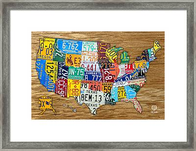 Usa License Plate Map Car Number Tag Art On Light Brown Stained Board Framed Print