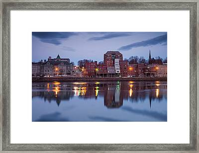 Usa, Maine, Augusta, Town View Framed Print