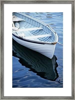 Usa, Maine, Rockport, Dinghy Moored Framed Print
