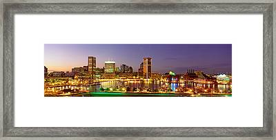 Usa, Maryland, Baltimore, City At Night Framed Print by Panoramic Images