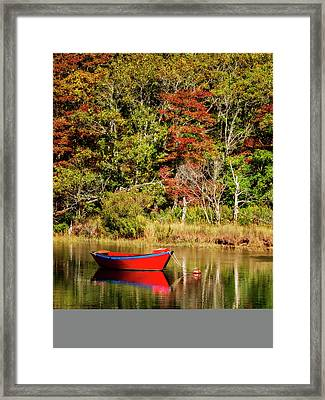 Usa, Massachusetts, Cape Cod, Red Dory Framed Print