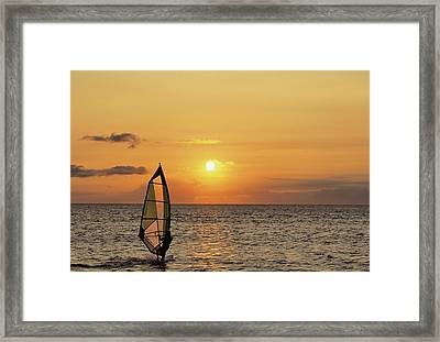 Usa, Maui, Hawaii, Sunset, Windsurfing Framed Print by Gerry Reynolds
