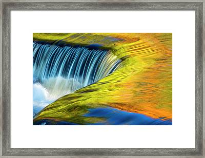 Usa, Michigan, Waterfall, Abstract Framed Print