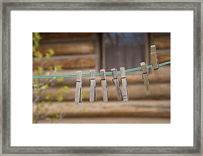 Usa, Montana Clothes Pins Framed Print