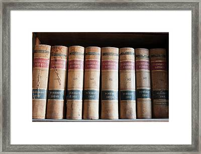 Usa, Nevada Old Law Books In Library Framed Print