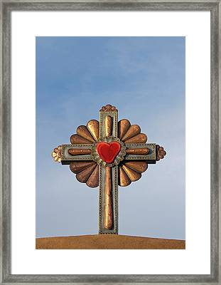 Usa, New Mexico, Chimayo, Gilded Cross Framed Print