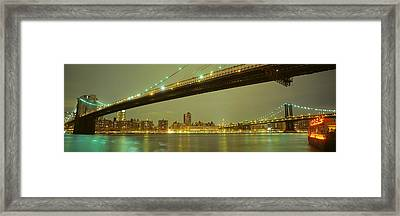 Usa, New York, Brooklyn And Manhattan Framed Print by Panoramic Images