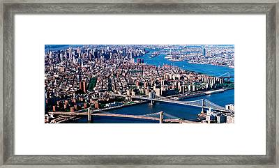 Usa, New York, Brooklyn Bridge, Aerial Framed Print