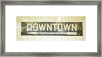 Usa, New York City, Subway Sign Framed Print