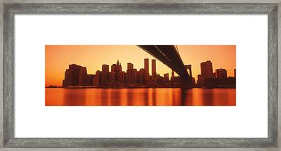 Usa, New York, East River And Brooklyn Framed Print by Panoramic Images