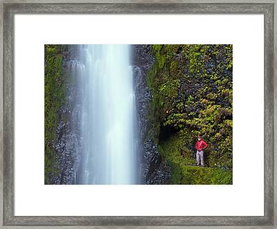 Usa, Oregon A Man In Red Stands Aside Framed Print
