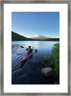 Usa, Oregon A Woman In A Sea Kayak Framed Print