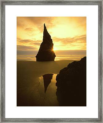 Usa, Oregon, Bandon Beach, Sunset Framed Print by Jaynes Gallery