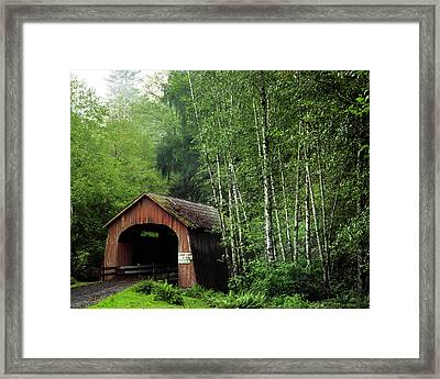 Usa, Oregon Covered Bridge Over North Framed Print