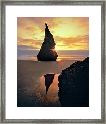 Usa, Oregon Rock Formation At Sunset Framed Print by Jaynes Gallery