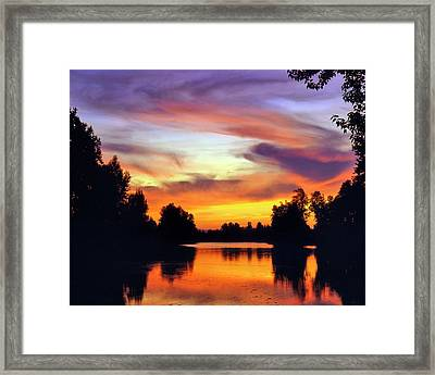 Usa, Oregon Sunset Reflecting Framed Print by Jaynes Gallery