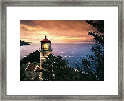 Usa, Oregon, View Of Heceta Head Framed Print