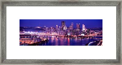 Usa, Pennsylvania, Pittsburgh At Dusk Framed Print