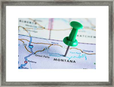 Usa States On Map Montana Framed Print by Ilbusca