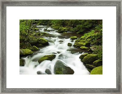 Usa, Tennessee, Stream At Roaring Fork Framed Print by Joanne Wells