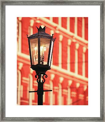 Usa, Texas, Galveston, Illuminated Framed Print by Walter Bibikow