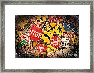 Framed Print featuring the photograph Usa Traffic Signs by Carsten Reisinger