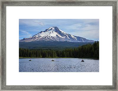 Usa, Trillium Lake, Fishermen Framed Print by Rick A Brown