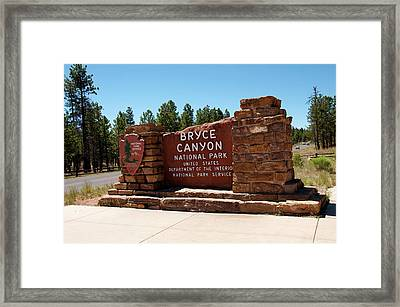 Usa, Utah, Park Service Signage Framed Print by Lee Foster