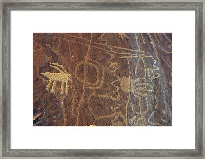 Usa, Utah, Petroglyphs, Sandstone Framed Print