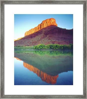 Usa, Utah, Sunlight On A Mesa Framed Print by Jaynes Gallery