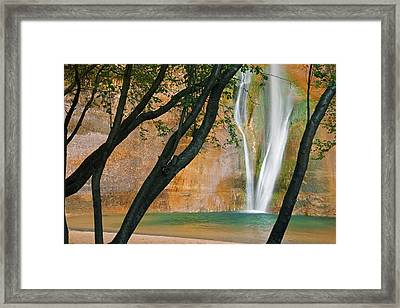 Usa; Utah View Of Calf Creek Falls Framed Print by Jaynes Gallery