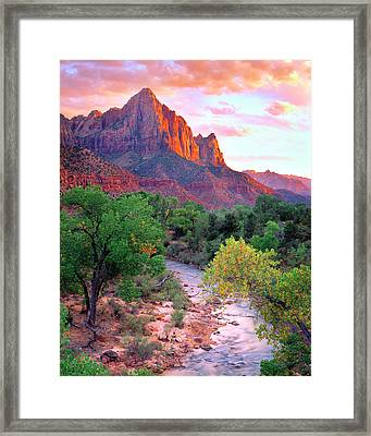 Usa, Utah, Zion National Park At Sunset Framed Print by Jaynes Gallery