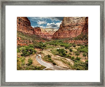 Usa, Utah, Zion National Park, View Framed Print by Ann Collins