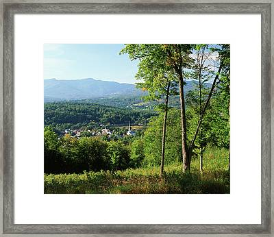 Usa, Vermont, Stowe, View Of Town Framed Print by Walter Bibikow