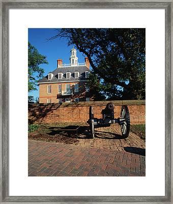Usa, Virginia, Williamsburg, Cannon Framed Print by Walter Bibikow