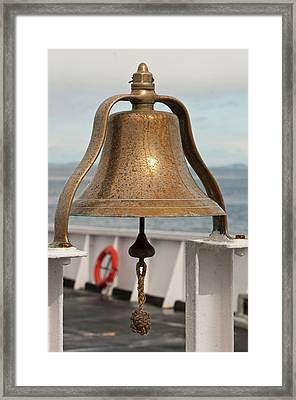 Usa, Wa, Brass Ship Bell On Blackball Framed Print by Trish Drury