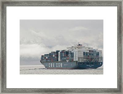 Usa, Wa, Laden Container Ship Moves Framed Print by Trish Drury